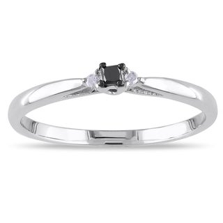 Miadora 14k White Gold Black and White Diamond Promise Ring (G-H, I1-I2)