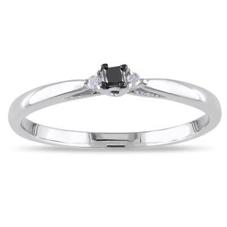 Haylee Jewels 14k White Gold Black and White Diamond Promise Ring (G-H, I1-I2)