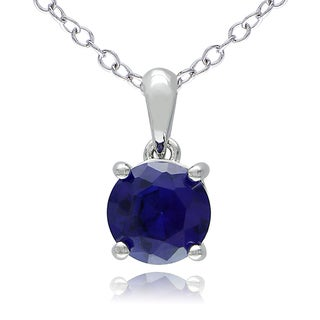 M by Miadora Sterling Silver Created Blue Sapphire Solitaire Necklace