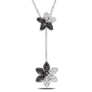 Miadora 14k White Gold 1/2ct TDW Diamond Flower Necklace