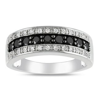 Miadora Sterling Silver 3/4ct TDW Black and White Diamond Ring (H-I, I2-I3)
