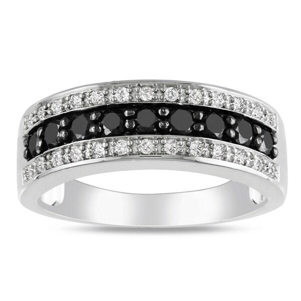 Miadora Sterling Silver 3/4ct TDW Black and White Diamond Ring (H-I, I2-I3)