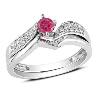 Miadora 14k White Gold 1/3ct TDW Pink and White Diamond Bridal Set (I1-I2)