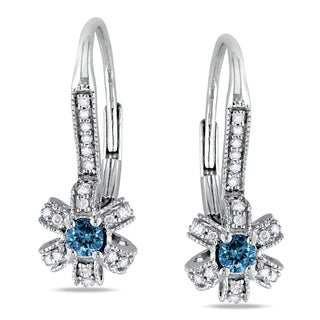 Miadora 14k White Gold 1/3ct TDW Blue and White Diamond Earrings (G-H, I1-I2)