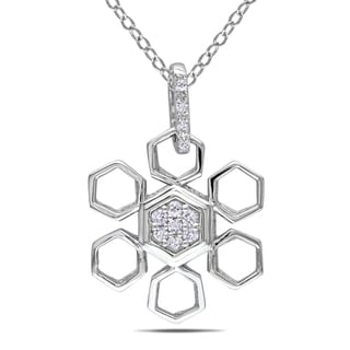 M by Miadora Sterling Silver 1/10ct TDW Diamond Snowflake Necklace (G-H, I1-I2)