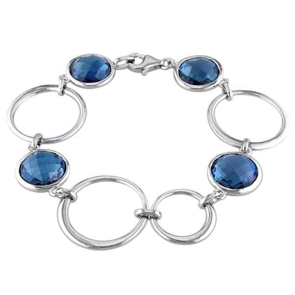 Miadora Sterling Silver 26ct TGW London Blue Topaz Charm Bracelet
