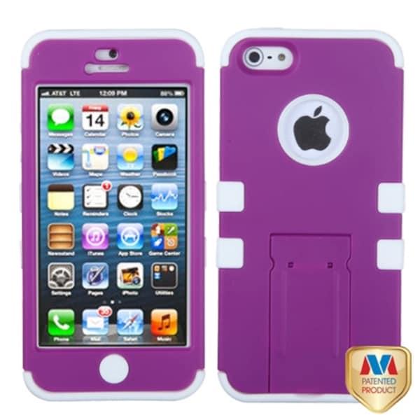 BasAcc Purple/ White TUFF Hybrid Case for Apple iPhone 5
