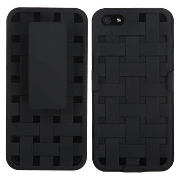 INSTEN Ivory White Weave Texture Hybrid Holster for Apple iPhone 5