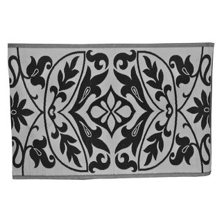 Floral Black/ White PET Eco-friendly Indoor/ Outdoor Reversible Rug (6' x 9')