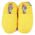 Yellow Polka Dot Fabric Soft Leather Sole Infant Shoes