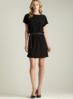 MSK Chain Belted Blouson Dress