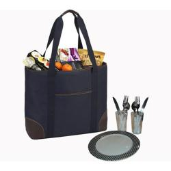 Picnic at Ascot Large Insulated Picnic Tote for Two Navy
