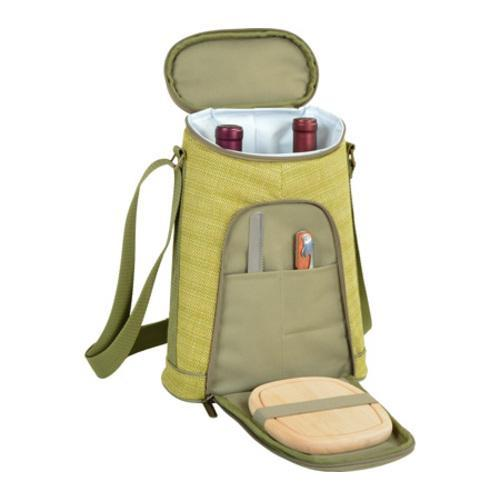 Picnic at Ascot Two Bottle Carrier & Cheese Set Olive Tweed/Hampton