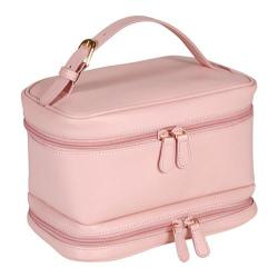 Women's Royce Leather Cosmetic Travel Case 270-6 Black/Carnation Pink Leather