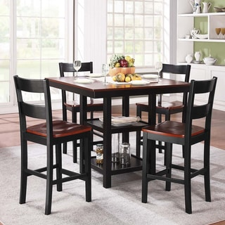 Tribecca Home Nome Cherry and Black 5-Piece Dining Set with Storage Base