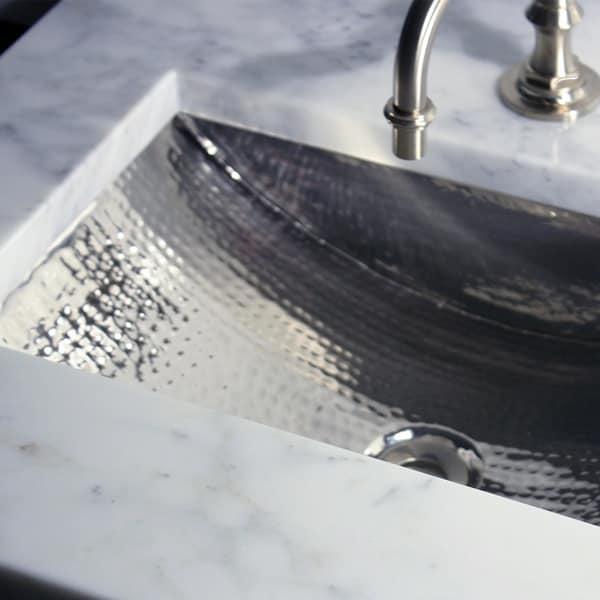 24 Inch Artisan Hammered Nickel Undermount Bathroom Sink