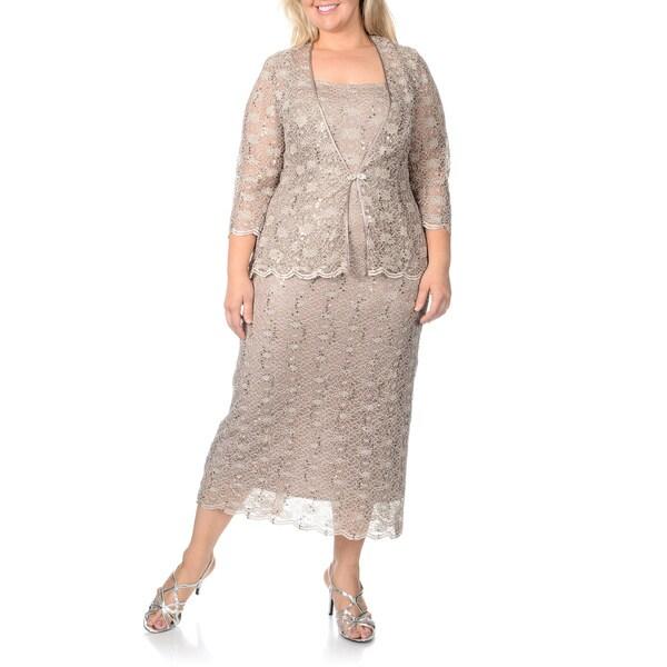 R & M Richards Women's Plus Sequin Lace 2-piece Jacket Dress
