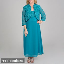 R & M Richards Plus Size Sequin Lace 2-piece Jacket Gown