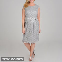 R & M Richards Women's Plus Size Sequin Lace Dress