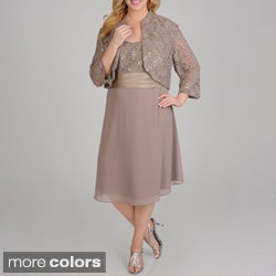R & M Richards Plus Size Sequin Lace 2-piece Jacket Dress
