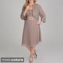 R & M Richards Plus Size Sequin Lace 2-piece Jacket Dress