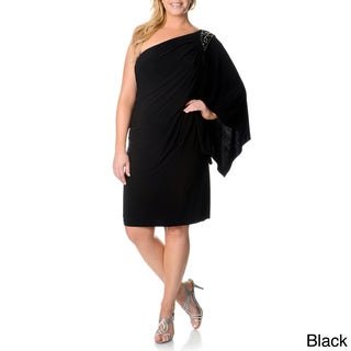 R & M Richards Plus Size One Shoulder Embellished Dress