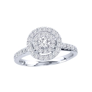 De Couer 14k Gold 3/4ct TDW Diamond Double Halo Engagement Ring (H-I, I2)