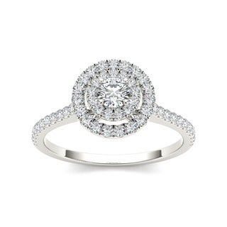 De Couer 14k Gold 1/2ct TDW Diamond Double Halo Engagement Ring (H-I, I2)
