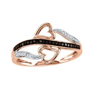 De Couer 10k Gold 1/8ct TDW Cognac and White Diamond Heart Ring (H-I, I2)