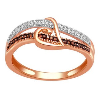 De Couer 10k Gold 1/8ct TDW Cognac and White Diamond Promise Ring (H-I, I2)
