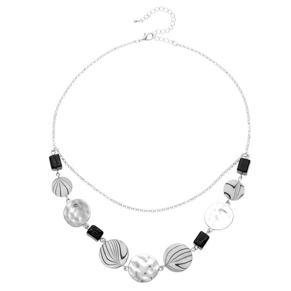 Alexa Starr Silvertone Black and White Shell Bib Necklace