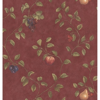 Brewster Red Fruit Trail Wallpaper