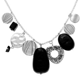 Alexa Starr Silvertone Black and White Shell Necklace