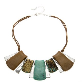 Alexa Starr Silvertone Faux Turquoise and Wood Bib Necklace