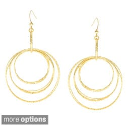 Alexa Starr Goldtone or Hematite Diamond-cut Fashion Hoop Earrings