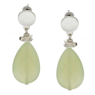 Alexa Starr Silvertone Faceted Jade Teardrop Earrings