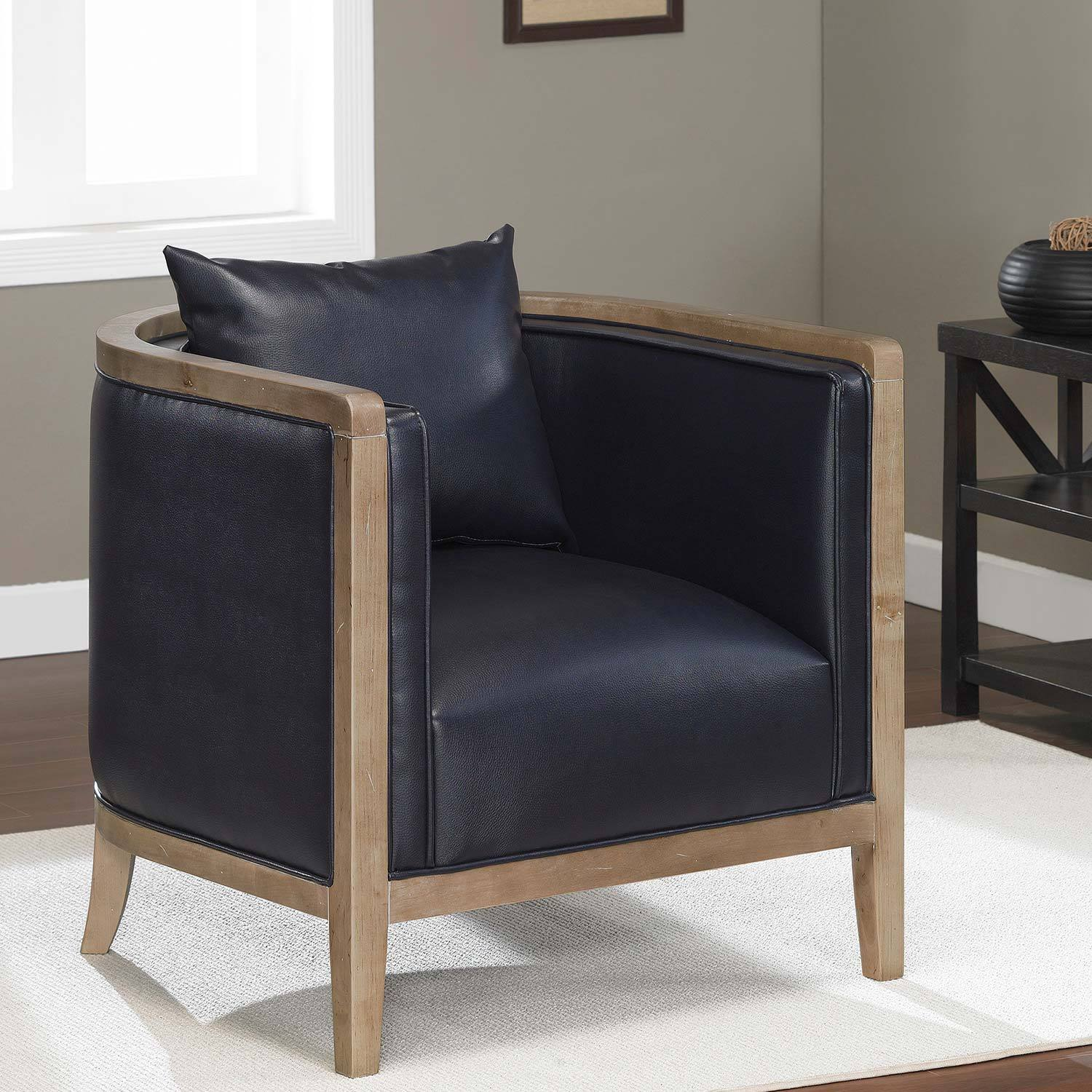 Manning Navy Blue Bonded Leather Chair