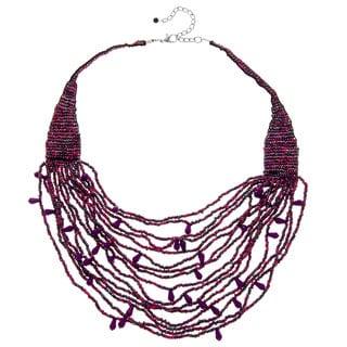 Alexa Starr Purple Glass Bead Woven Swag Necklace