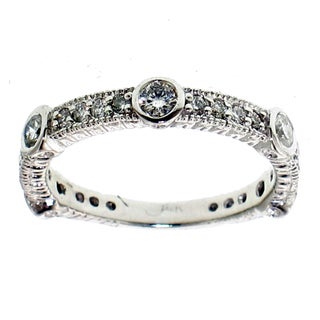14k White Gold 1ct TDW Bezel Set Stackable Diamond Band (F-G, SI1-SI2)