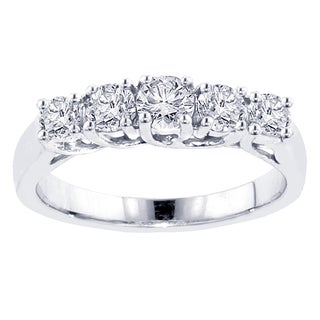 14k White Gold 1ct TDW Five Stone Diamond Wedding Band (F-G, SI1-SI2)