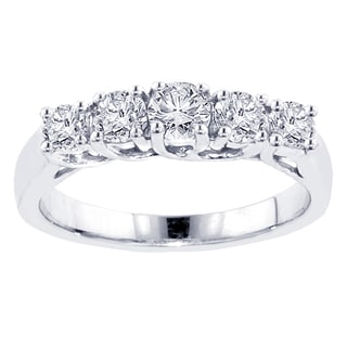 14k White Gold 1ct TDW Five Stone Diamond Band (F-G, SI1-SI2)