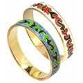De Buman 14k Gold Overlay Enamel Bangle Bracelet