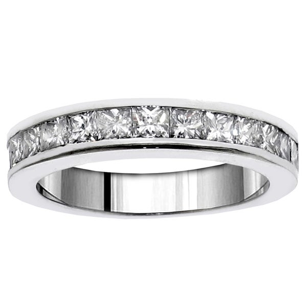 14k White Gold 1 3/4ct TDW Princess-cut Channel Set Diamond Wedding Band (F-G, SI1-SI2)
