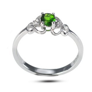 De Buman Sterling Silver Genuine Chrome Diopside with White Topaz Accent Ring