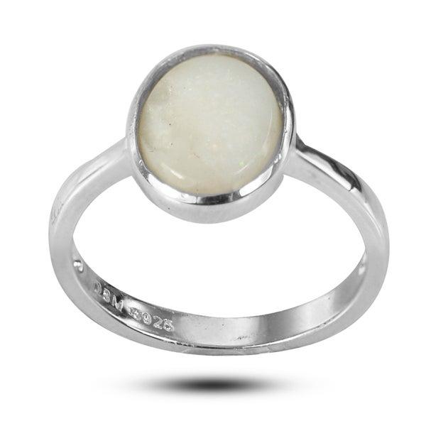 De Buman Sterling Silver Genuine Opal Ring
