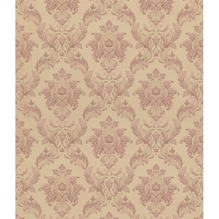 Brewster Blush Floral Damsk Wallpaper