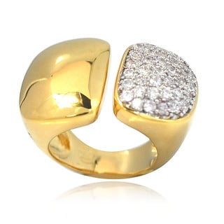 De Buman 14k Gold Overlay Cubic Zirconia Ring