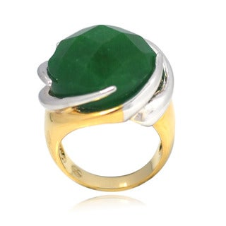 De Buman 14K Gold Overlay Green Jade Ring