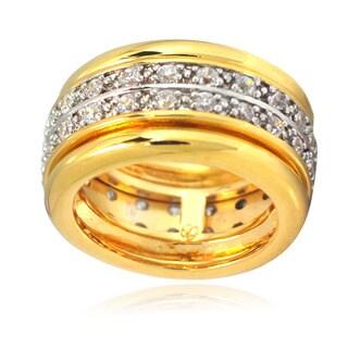 De Buman 14k Gold Overlay Cubic Zirconia Men's Band Ring