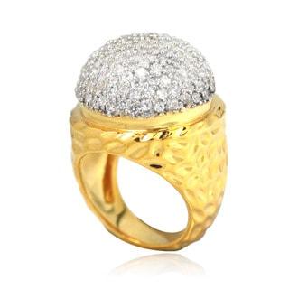 De Buman 14k Gold-overlay Cubic Zirconia Hammered Ring
